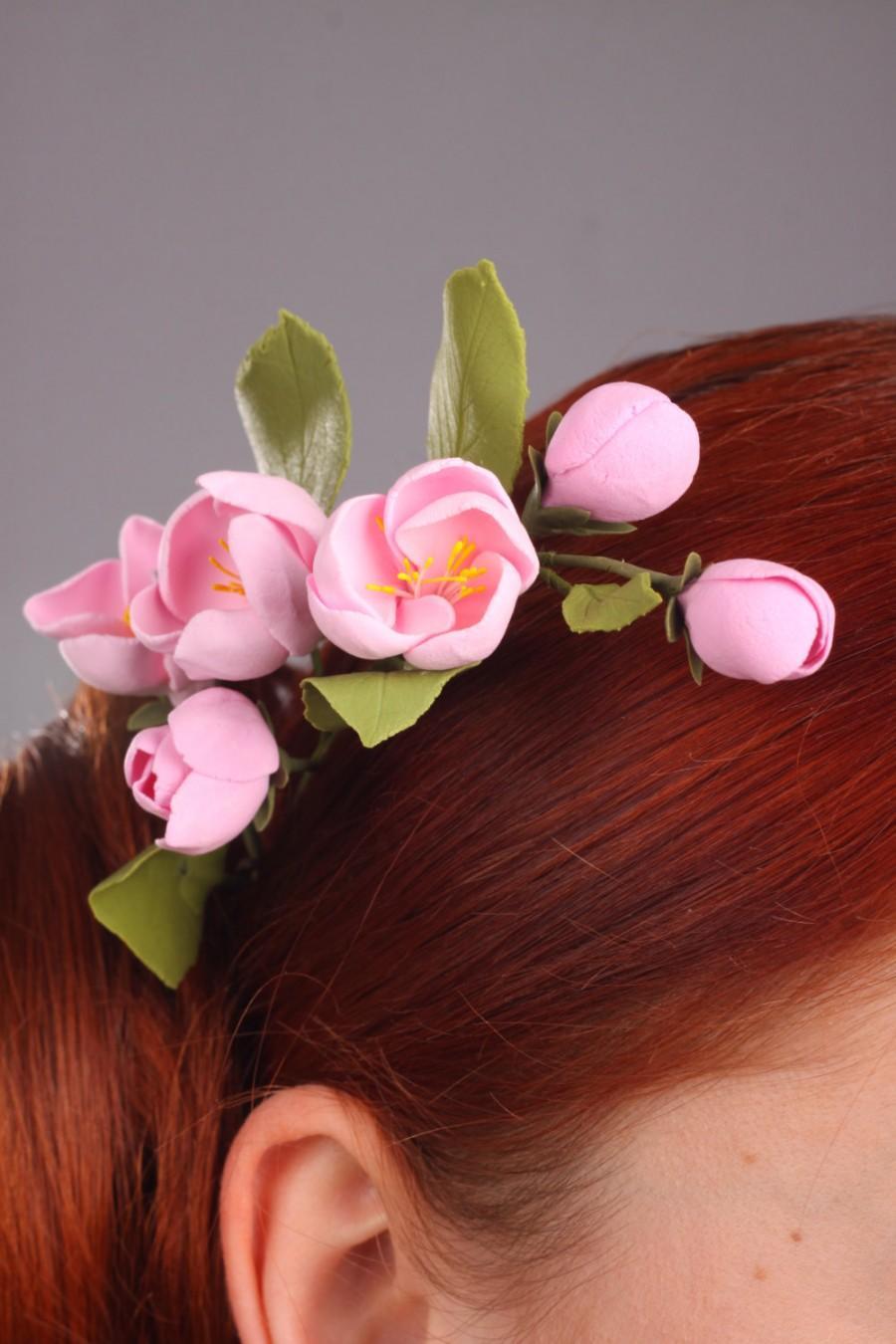 Hochzeit - Hair clay flowers, hair decoration, hair accessories, pink apple flowers