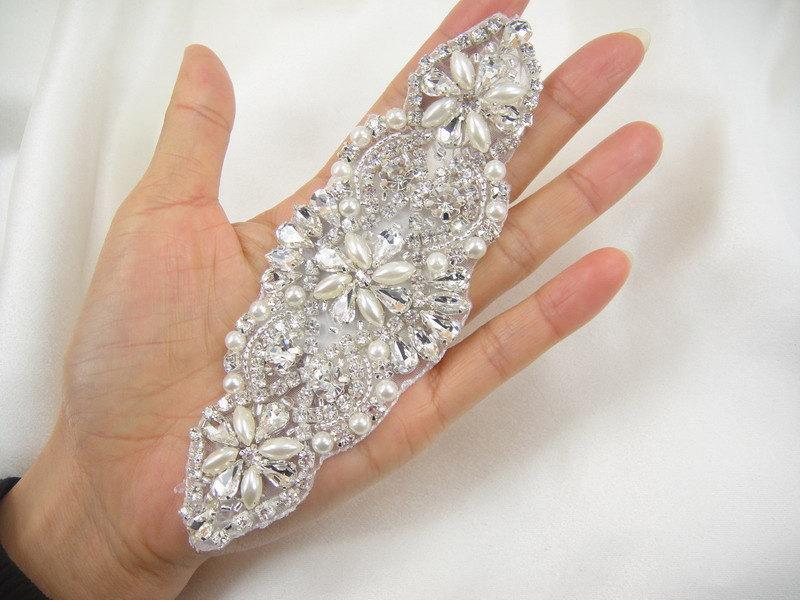زفاف - Diamante Applique, rhinestone applique,crystal bridal Sash applique, Bridal Applique, wedding applique, pearl beaded applique, wedding belt