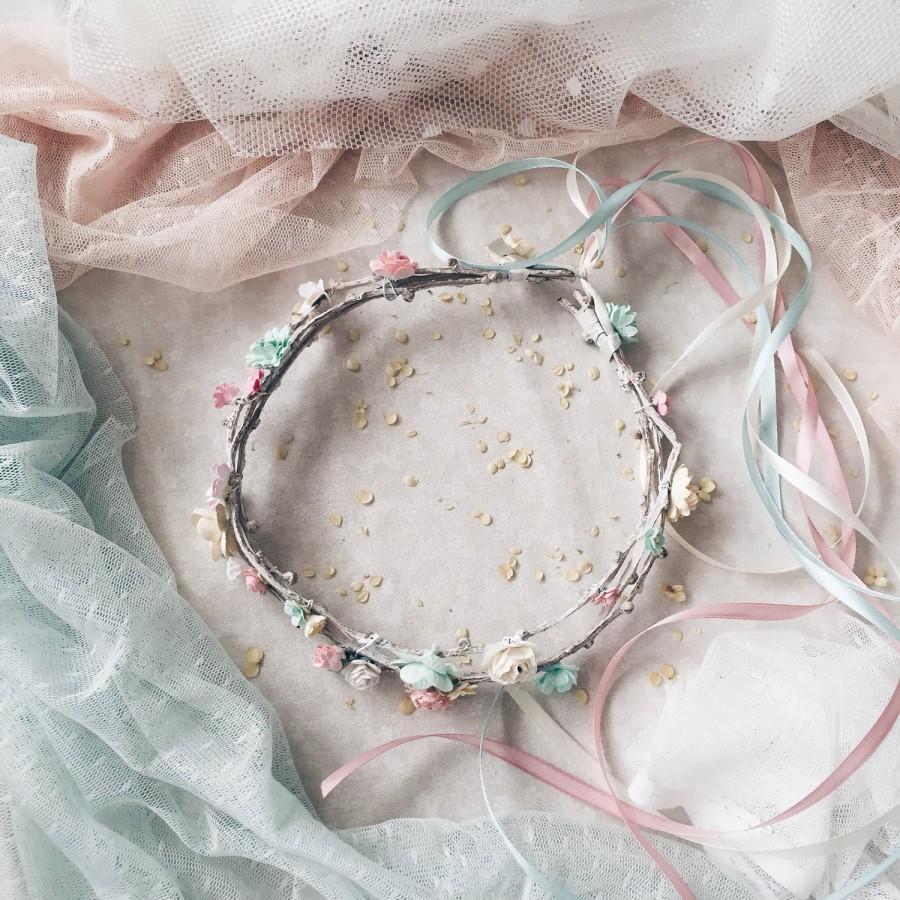 زفاف - Floral crown, Bridal floral crown,Flower crown,Woodland wedding, Flower girl, Floral headpiece, Wedding headpiece, Boho headpiece
