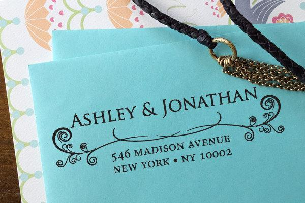 Mariage - custom ADDRESS STAMP with proof from USA, Eco Friendly Self-Inking stamp, rsvp address stamp, return address custom stamp Ornamental Border3