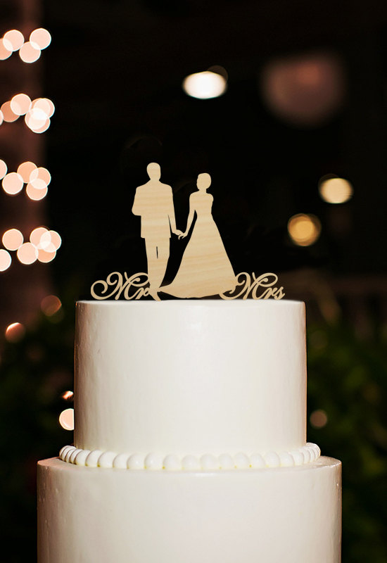 silhouette cake topper wedding cake topper mr and mrs cake topper bride and groom cake topper custom wood cake topper unique cake topper