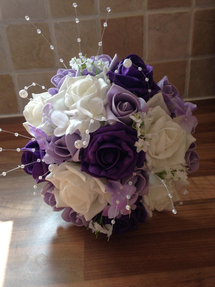 Свадьба - White, Deep Purple and Lavender Bridesmaid Bouquet