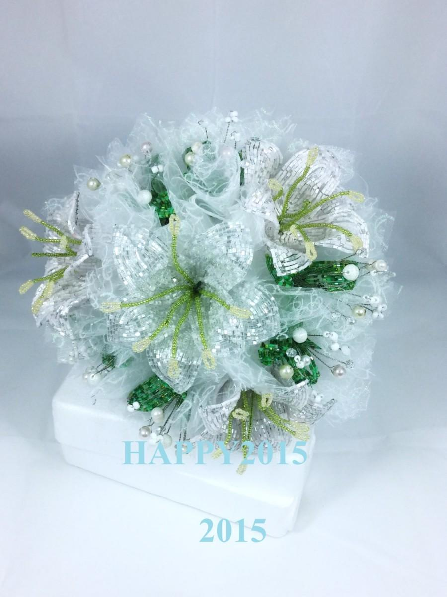 Wedding Bouquet Handmade Beaded Bouquet Lily Flowers Wedding Bouquet