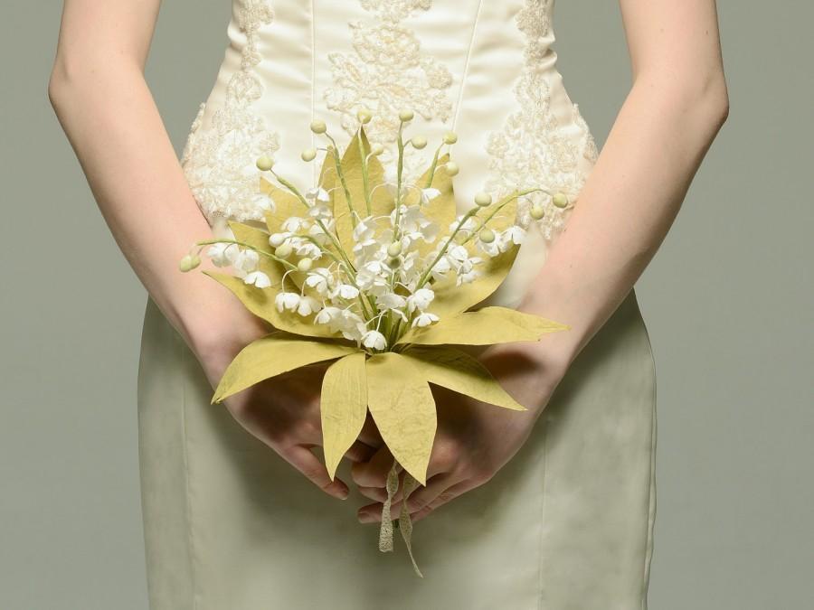 زفاف - Lily of the Valley Paper Bridal Bouquet - Keepsake Royal Bouquet