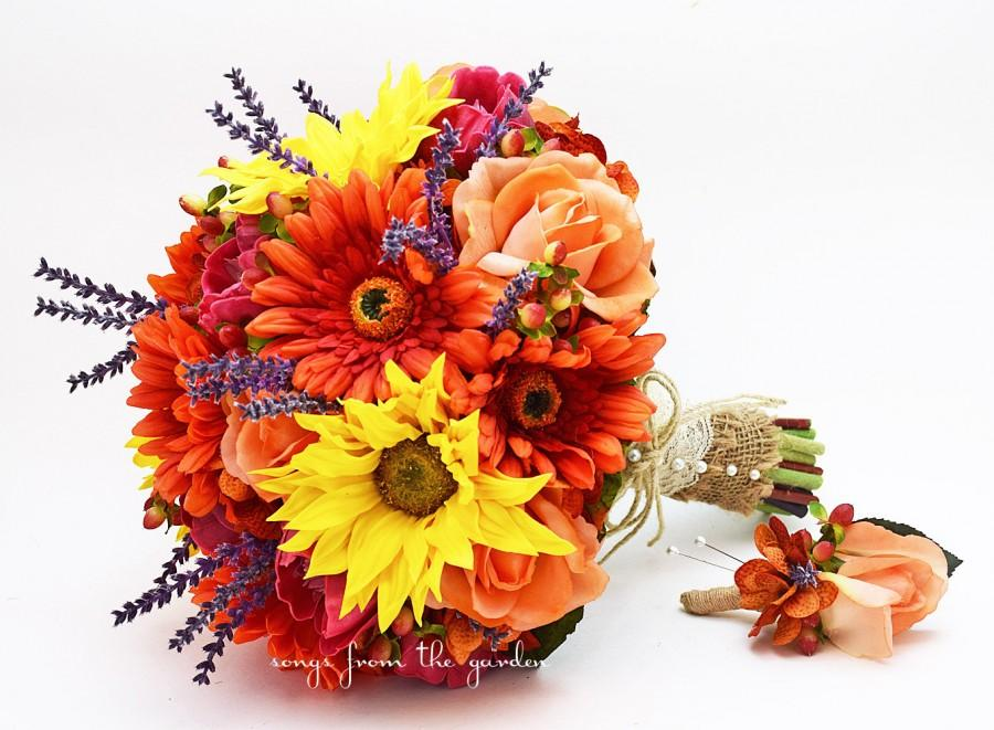 Wedding - Autumn Wedding Bridal Bouquet Groom's Boutonniere Sunflowers Lavender Gerber Daisies Roses Berries Peonies Hydrangea Orange Burgundy Yellow