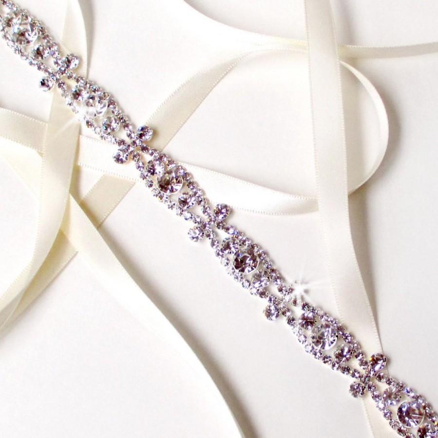 Wedding - Ornate Silver Rhinestone Bridal Headband - White or Ivory Satin Ribbon - Silver and Crystal Wedding Dress Belt - Standard Length