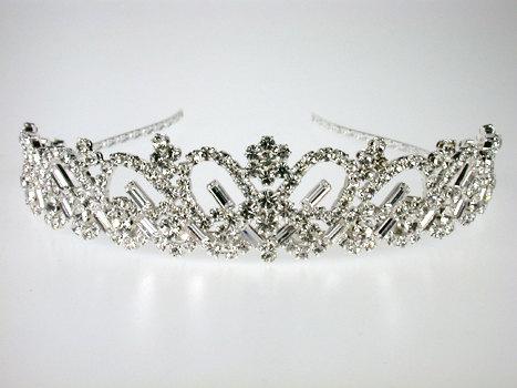 Wedding - Wedding Tiara - Rhinestone Tiara - Emanuelle Bridal Tiara - Bridal Hair Jewelry - Bridal Headpiece - Crystal Tiara - Silver Tiara Crown