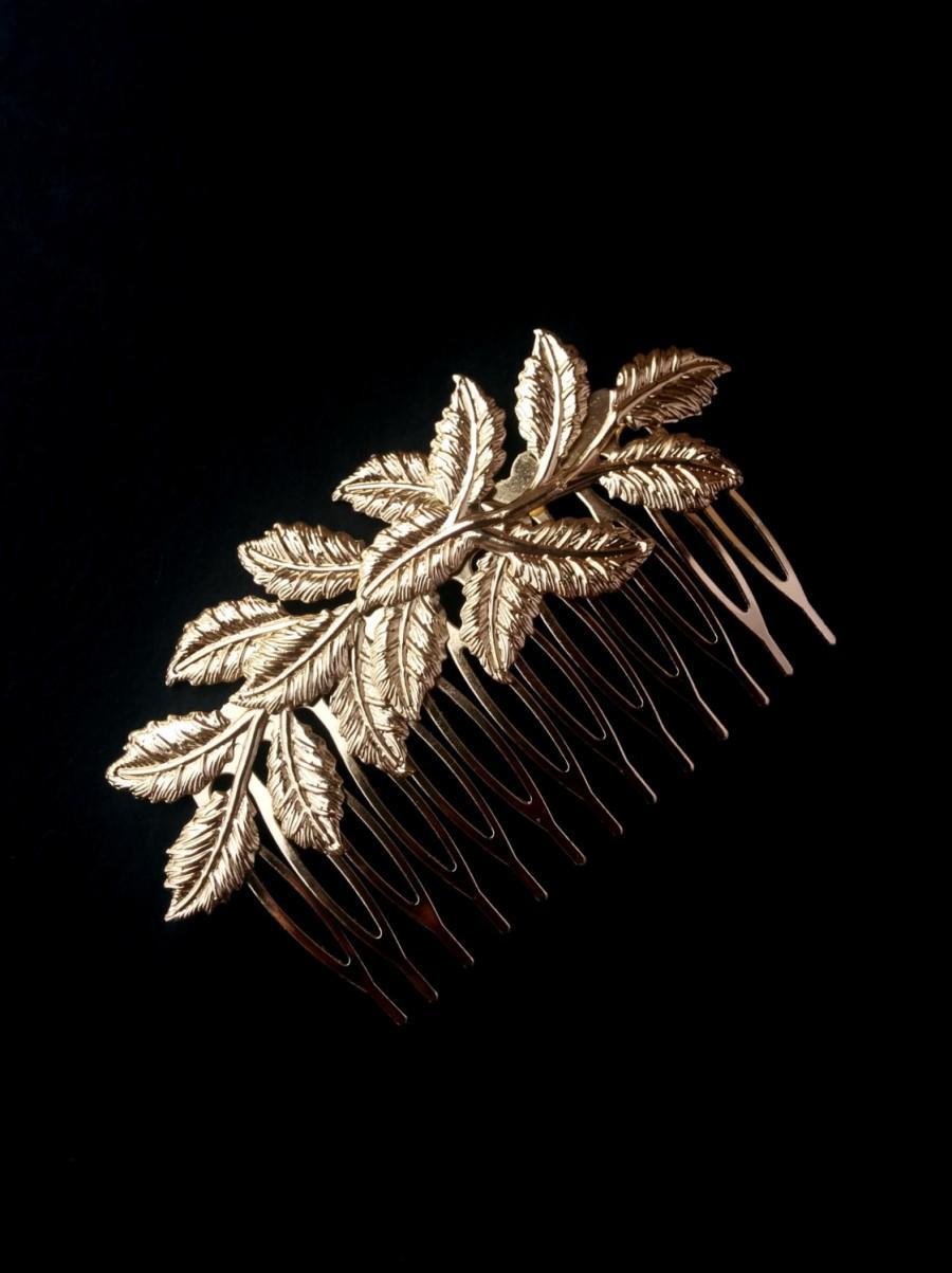 Gold Leaves Hair Comb Leaf Design Floral Branch Delicate Bridal