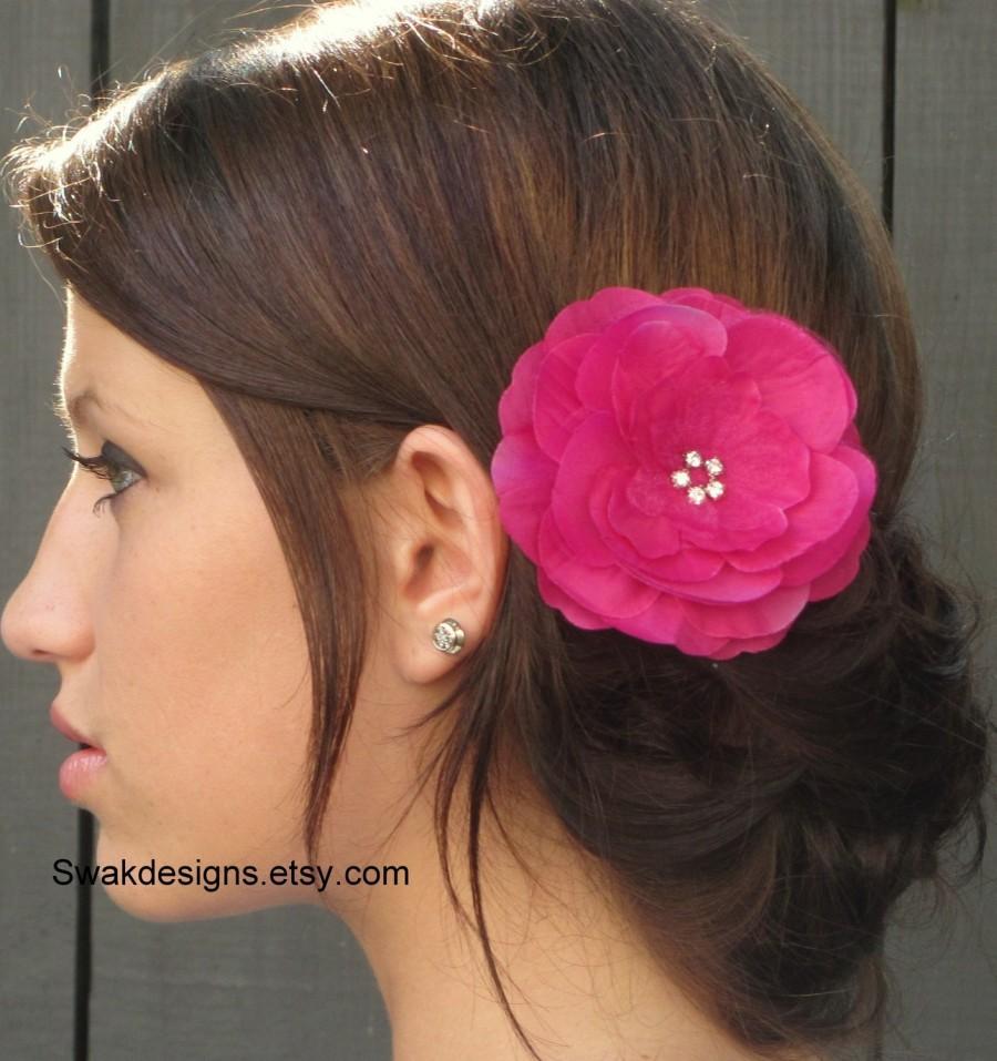 Hochzeit - Silk Peony Rhinestone Bridal Comb Bridal Flower Silver Comb Wedding Hair Accessories - Fuschia Pink or Choose Your Color