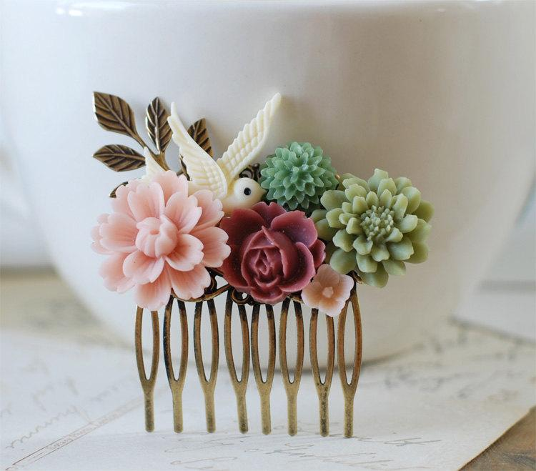 Wedding - Sage Green Dusky Pink Flowers Leaf  Ivory Bird Collage Hair Comb. Wedding Bridal Hair Comb, Floral Hair Accessory, Vintage Style Shabby Chic