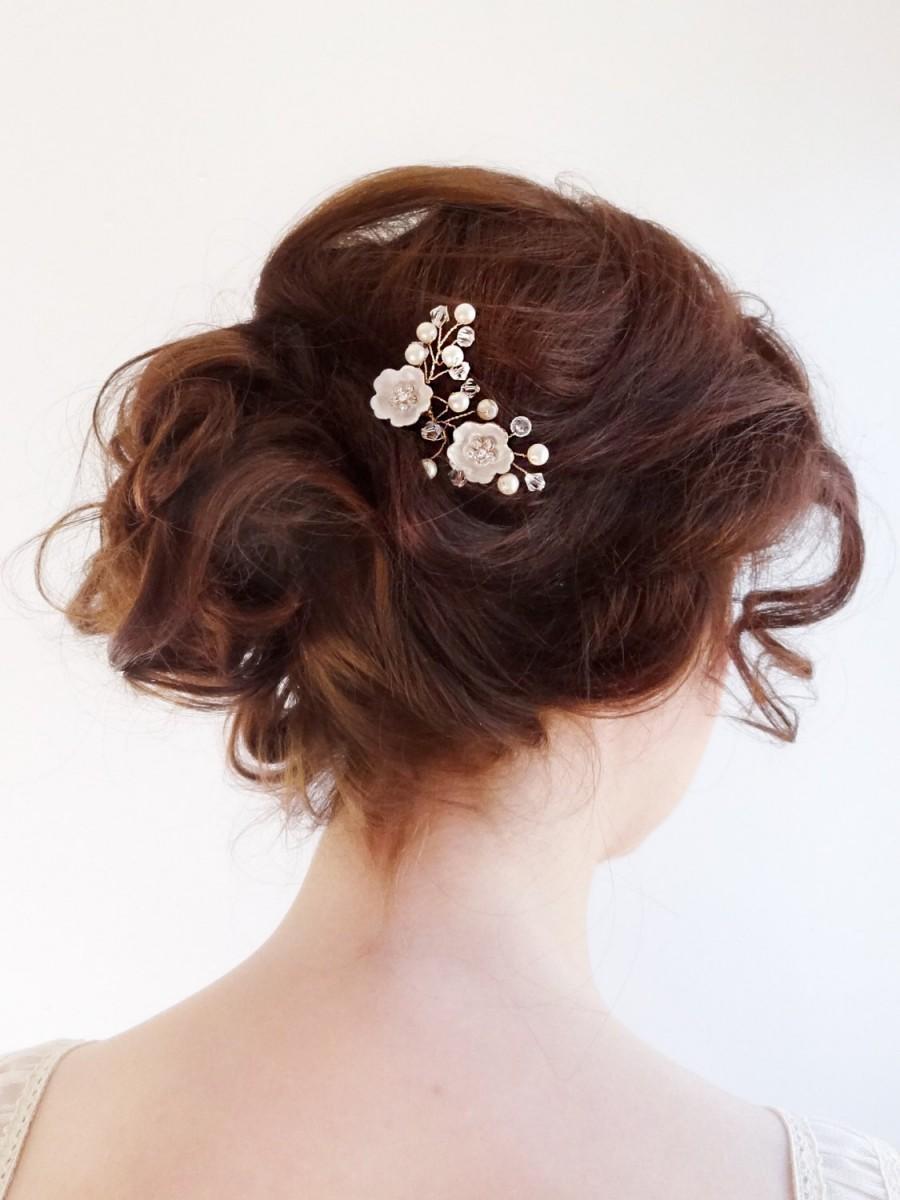 Mariage - Bridal crystal  headpiece, wedding hair jewelry, mini small wedding crystal and pearls hair comb, small bridal comb hair piece Style 265