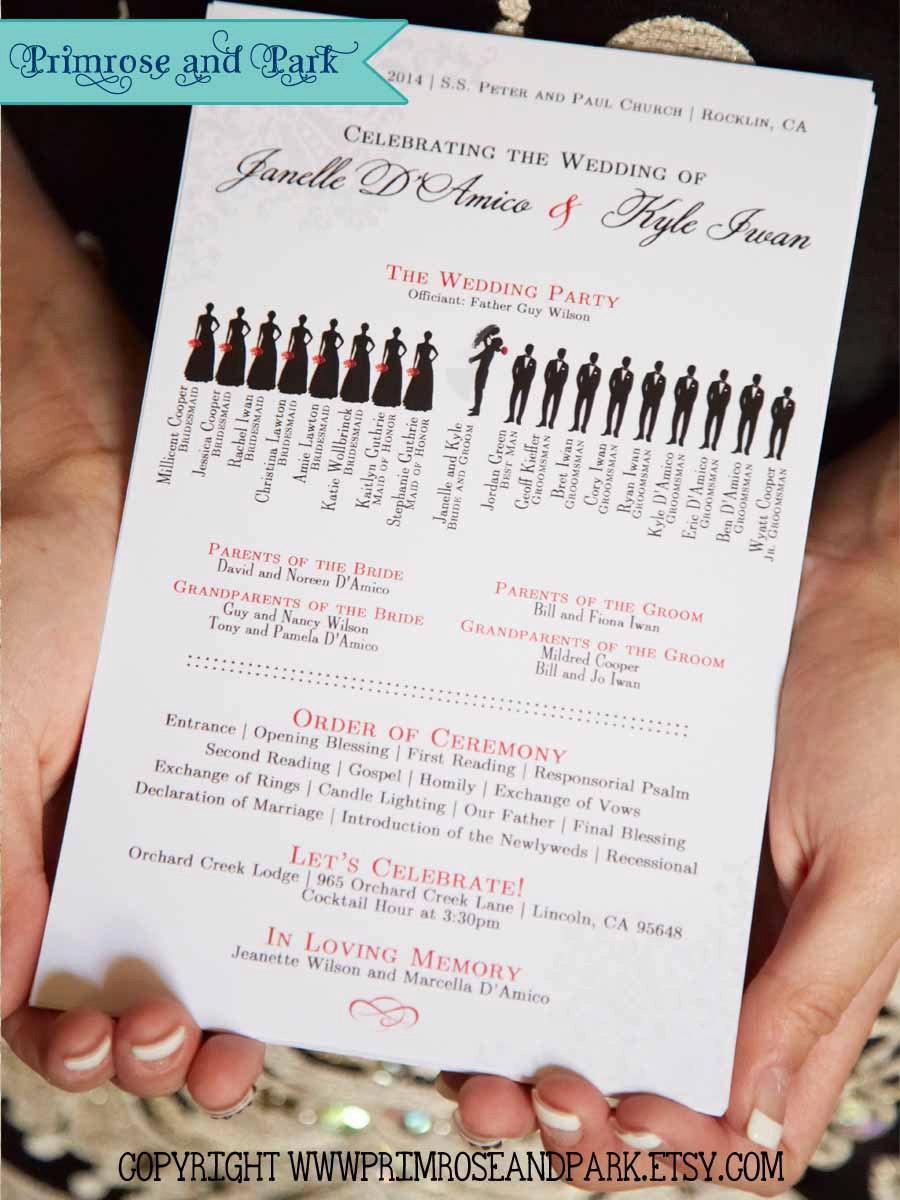Wedding - Silhouette Wedding Programs Printed // Unique Wedding Program