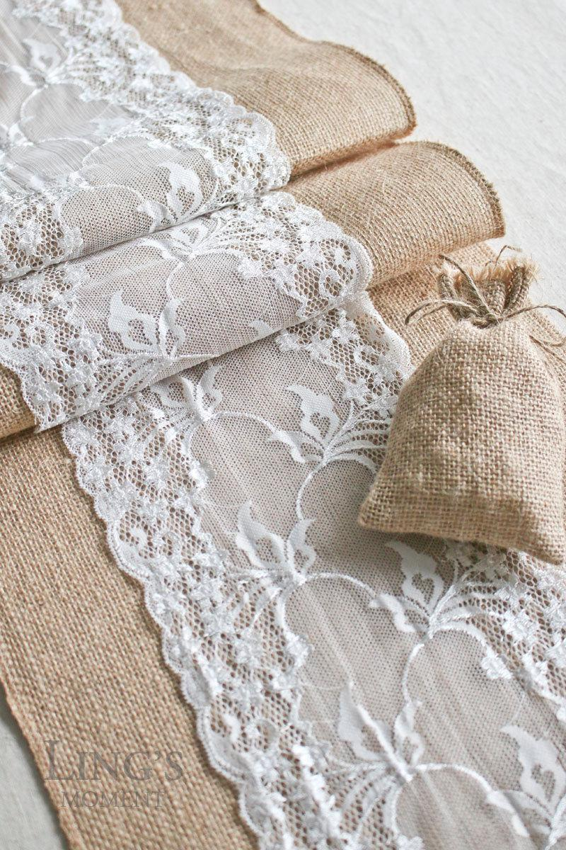 """Mariage - 12"""" or 14"""" Wide Burlap and Lace Table Runner Length Available for 48"""" 60"""" 72"""" 84"""" 96"""" 108"""" 120"""" 132"""" 144"""" 156"""" Rustic Wedding Decor TRJ012CM"""