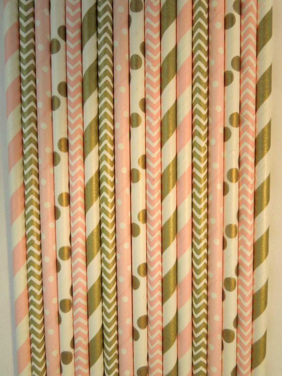 Mariage - 50 Gold Light Pink Paper Straws Gold Stripe Straw Mason Jar Straws Pink Stripe Straw Rustic Wedding Straws Birthday Party Bridal Baby Shower