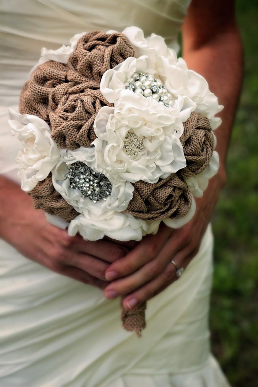 Mariage - 10 Piece Burlap Bouquet Set