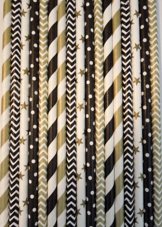 50 Black Gold Paper Straws Wedding Decor 40th Birthday Decoration Striped Cocktail Party