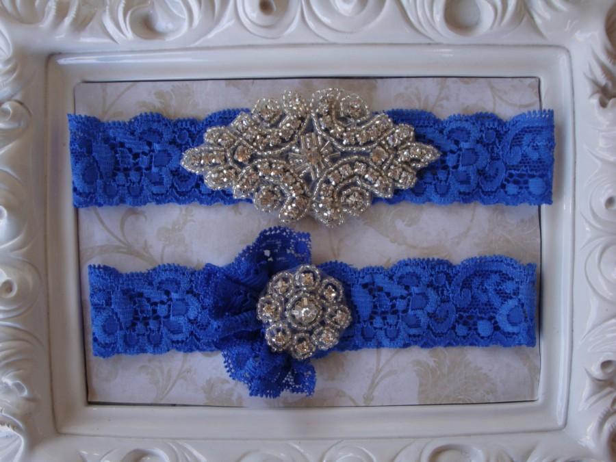 Mariage - Wedding Garter - Bridal Garter - Crystal Rhinestone Garter and Toss Garter Set on Royal Blue Lace