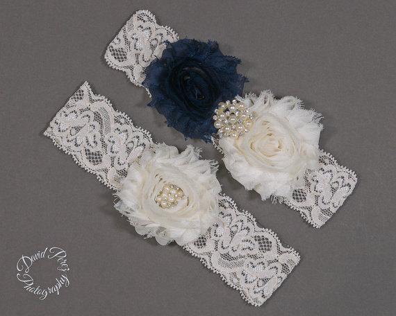 Mariage - Navy Blue and Ivory Garter Set Something Blue Bridal Garter Wedding Garter Lace Garter Vintage Garter Shabby Flowers Garder Blue Garter