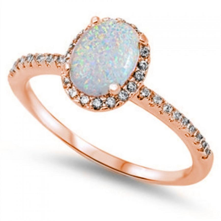 1 30CT Oval Cut Lab White Opal Round Russian Diamond CZ Rose Gold Solid 925 S