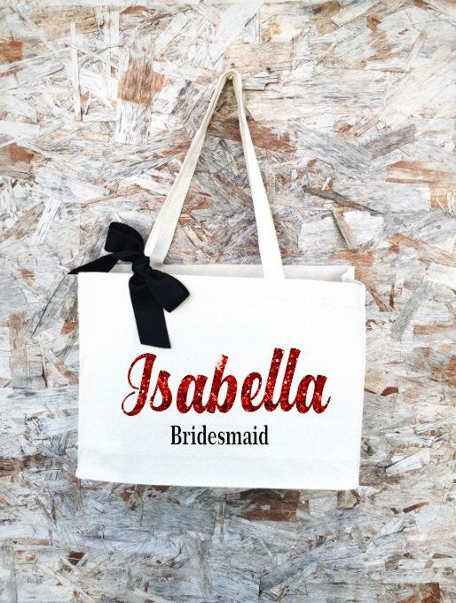 Mariage - Bridal Tote. Bride Bag. Bridesmaid Tote. Bridesmaid Bag. Personalized Tote. Personalized Name Tote.
