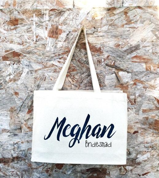 Wedding - Bridal Tote. Bride Bag. Bridesmaid Tote. Bridesmaid Bag. Personalized Tote. Personalized Name Tote.