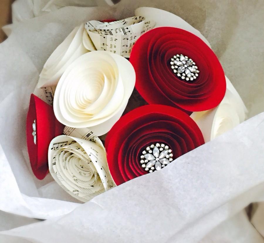 Свадьба - Rhinestone Bouquet - Red - Cream - Music Sheet - Paper Flowers - Wedding Bouquet - Bridesmaids - Anniversary Gift - Brooch Bouquet -