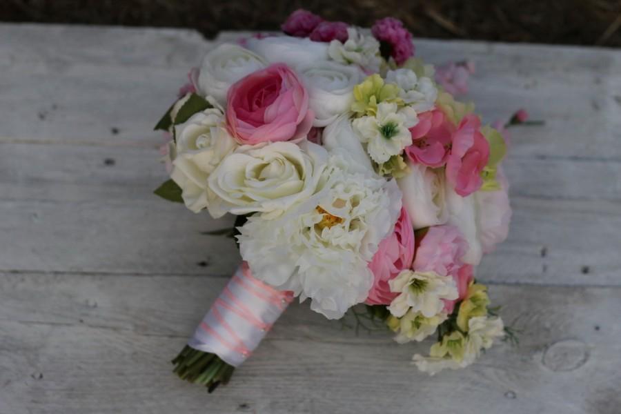 Mariage - bridal bouquet silk wedding bouquet wedding bouquet, wedding flowers alternative bouquet, pink bouquet, wedding decor, yellow, white flowers