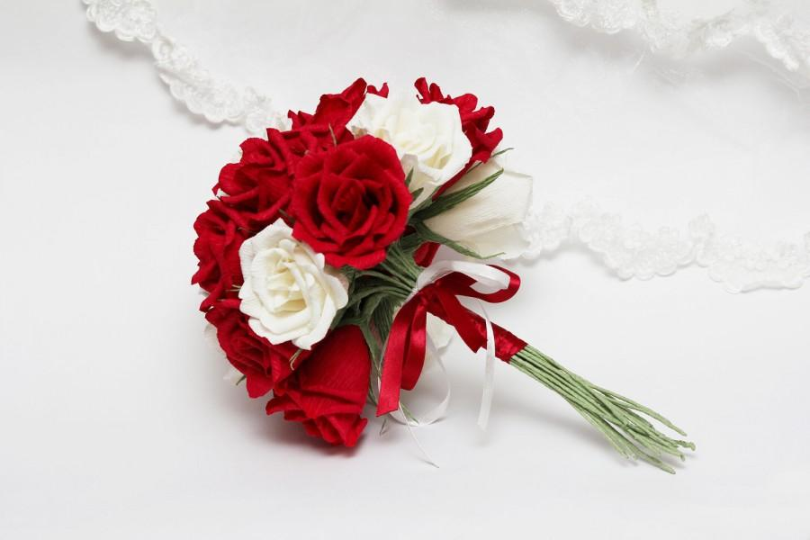 Hochzeit - wedding bouquet, bridesmaids bouquet, paper bridesmaids bouquet, bridal bouquet, paper bridal bouquet, red rose bouquet