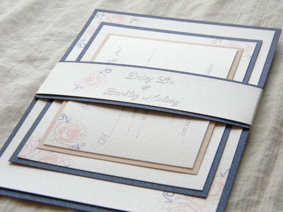 Mariage - Blush, Navy, and Silver Wedding Invite SAMPLE SET