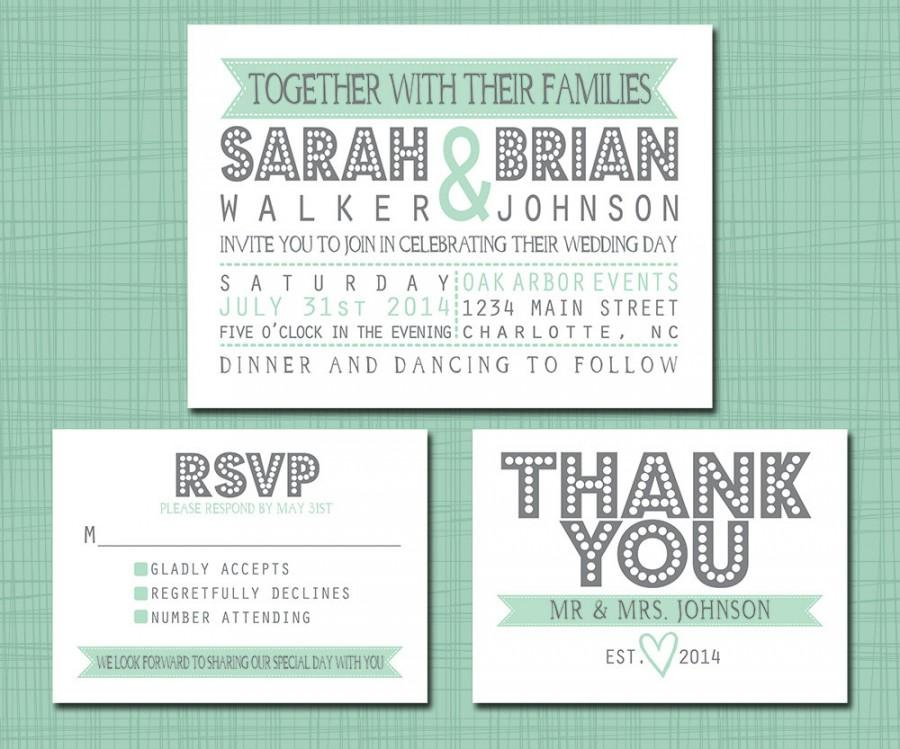 Printable Wedding Suite Invitation RSVP Thank You Set - Printable ...