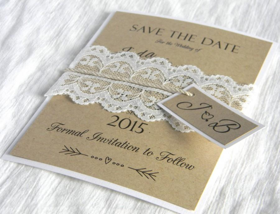 Mariage - Rustic Lace Save The Date