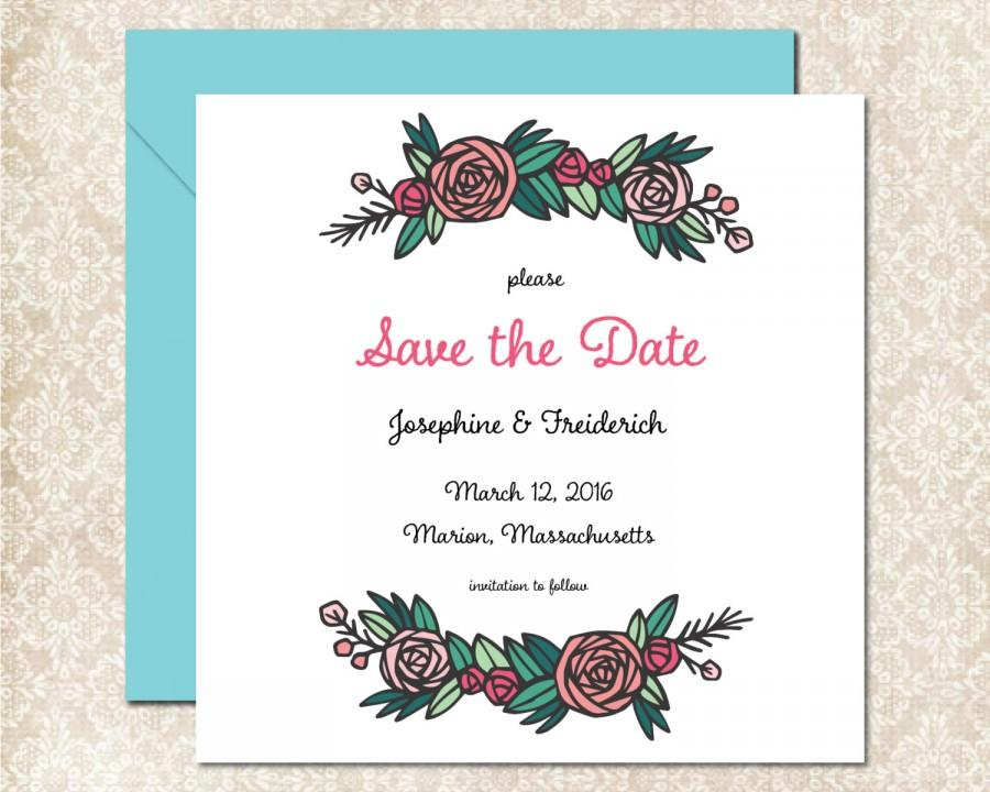 Mariage - Pretty Peony Wedding Save the Date, Printable Wedding Save the Date, Pretty Garden Wedding, Spring & Summer, Marion Collection