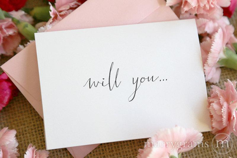Mariage - Cute Will You Be My Bridesmaid Cards, Chic Handwritten Script Maid of Honor, Matron Wedding Party, Bridesman, Flower Girl Card (Set of 7)