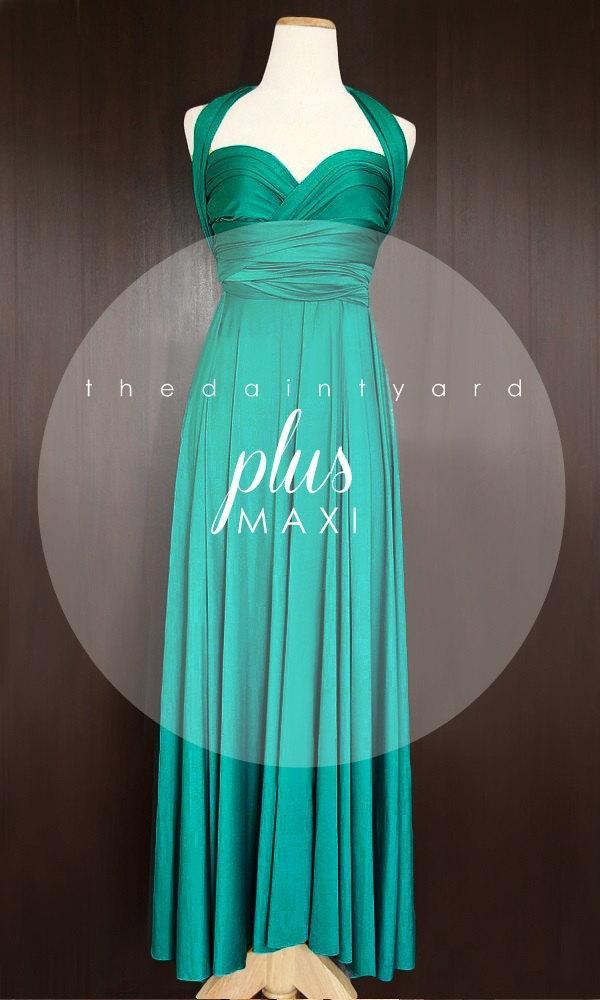 MAXI Plus Size Teal Green Bridesmaid Dress Convertible Dress ...