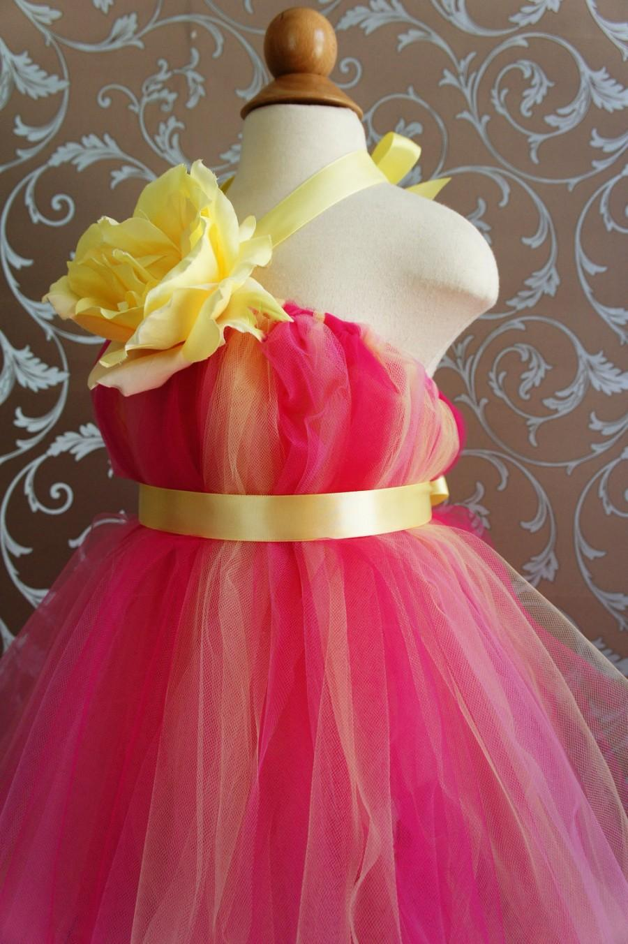 2c5d566bf Flower Girl Tutu Dress, Beautiful Shades of Hot Pink and Yellow, with  Delicate Oversized Rose, tutu dress, flower top, toddler tutu dress