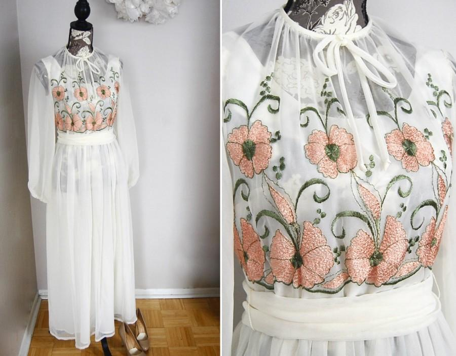 Vintage 60\'s Formal Summer Wedding Dress -- Retro 50\'s Prom -- Sheer ...