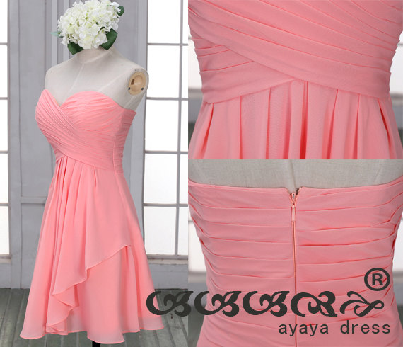 Hochzeit - Blush Short Bridesmaid Dress ,zipper up back  bridesmaid dresses, Bridesmaid dresses with Sweetheart Neckline,prom dress,evening dress 2015,