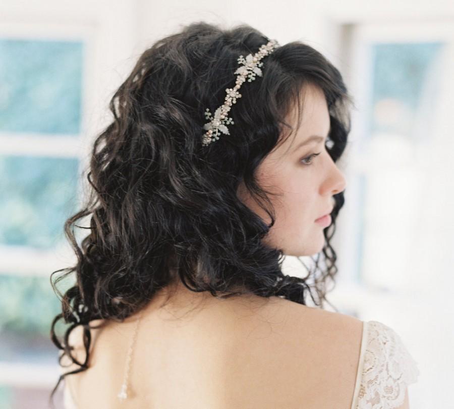 Mariage - Wedding headband, pastel blush and green bridal headpiece - no. 2050