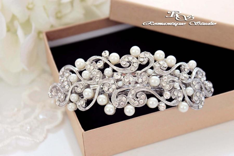 Mariage - Bridal pearl barrette, Wedding hair barrette, Pearl hair comb, Bridal comb, Swarovski crystal hair comb, Rhinestone barrette,  5180