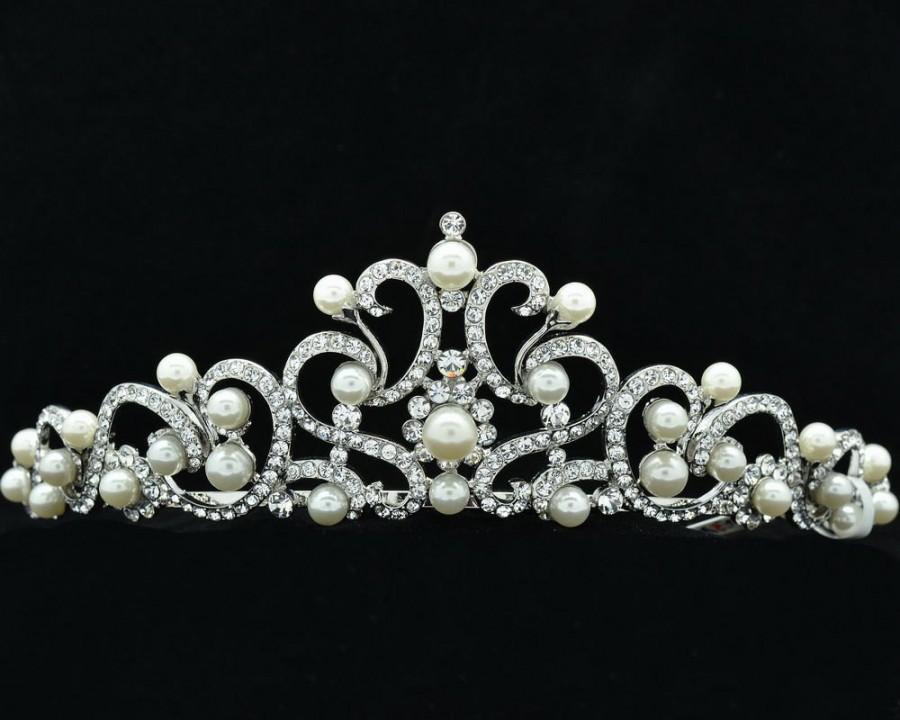Mariage - Austrian Crystals Faux Pearl Clear Flower Tiara Crown Wedding Bride SHA8617