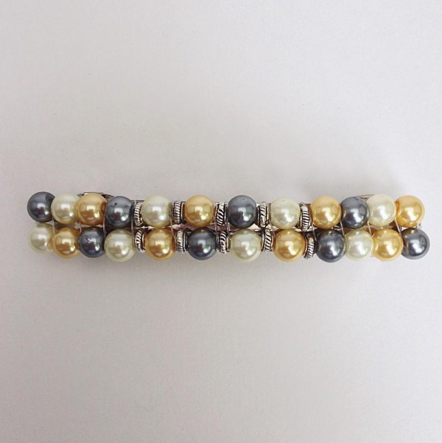Mariage - Pearl Beaded Hair Barrette, Womens Wedding Hair Clip Clasp, French Barette Accessory Jewelry, Yellow Black White