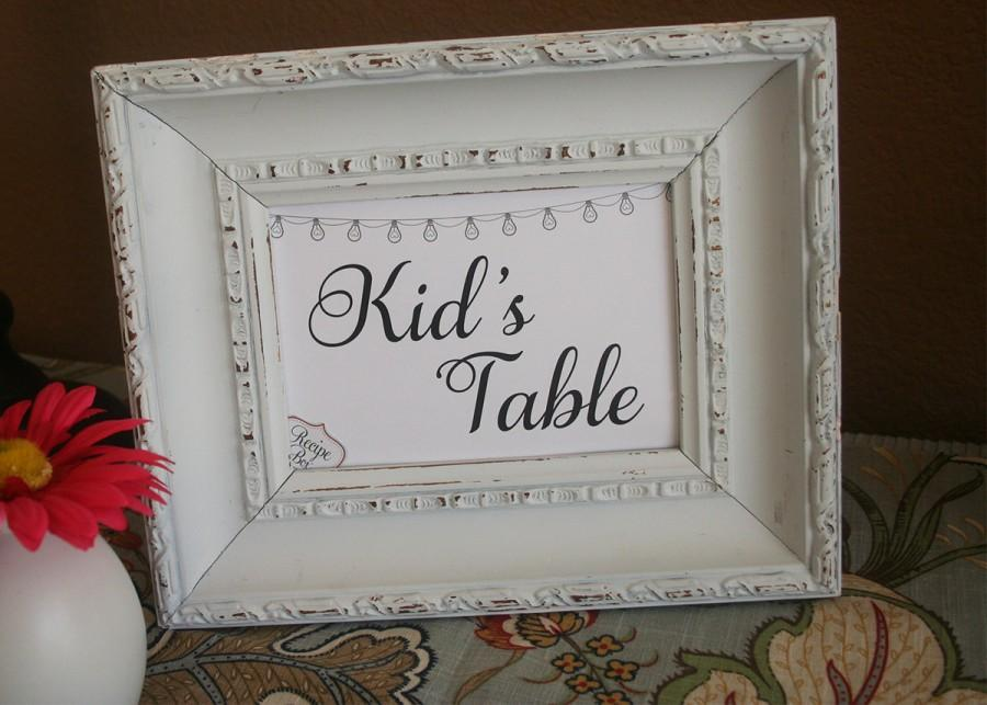 Wedding - Kid's Table Wedding Sign, Kids Activity Table Reception Signs, 5x7 Childrens Table, Wedding Reception Sign Kids Table Sign, Wedding Signage