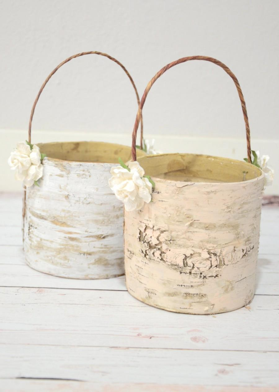 Wedding - Set of 2 flower girl baskets - boho chic