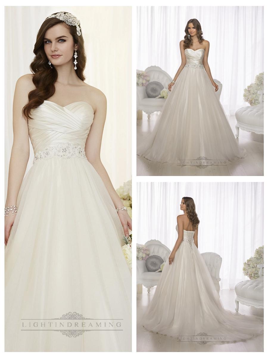 Criss cross asymmetrical sweetheart neckline a line for Wedding dresses asymmetrical hemline