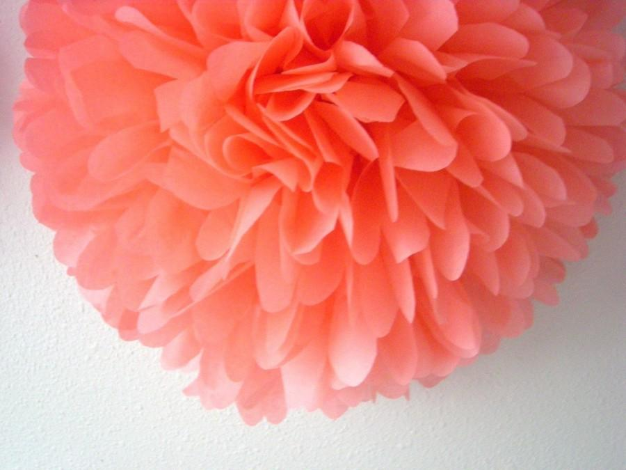 C 1 Tissue Paper Pom Wedding Decorations Diy Birthday Party Decor Pompoms Parisian Salmon Pink