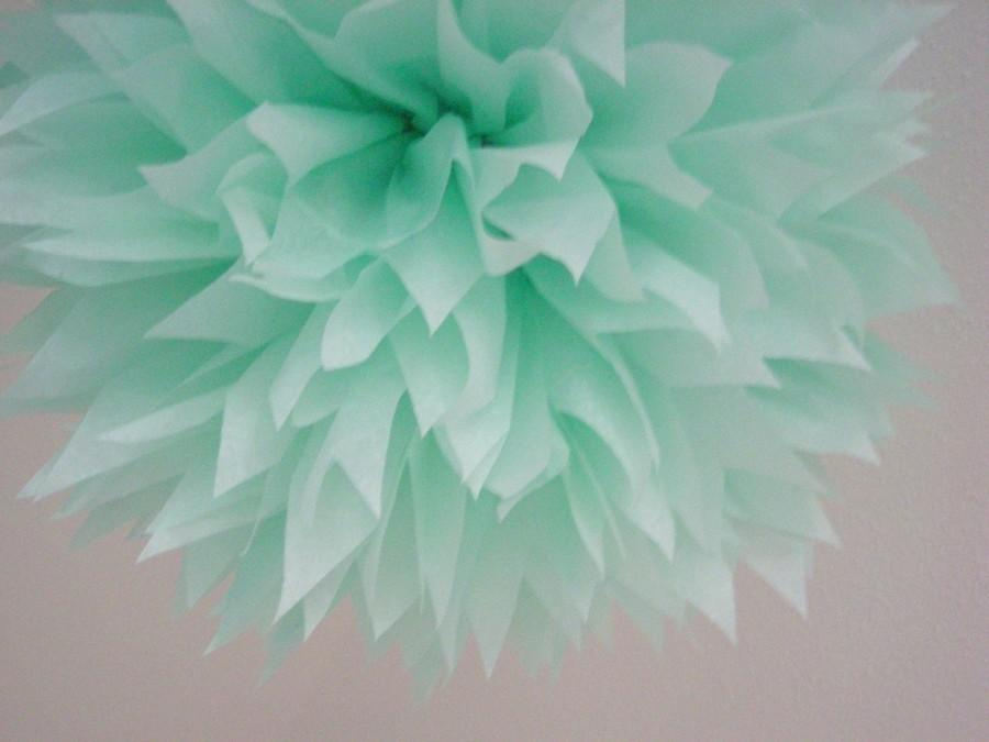 Hochzeit - COOL MINT / 1 tissue paper pom / diy / wedding decorations / seafoam green / birthday party poms / pompoms / mint decorations / aisle marker