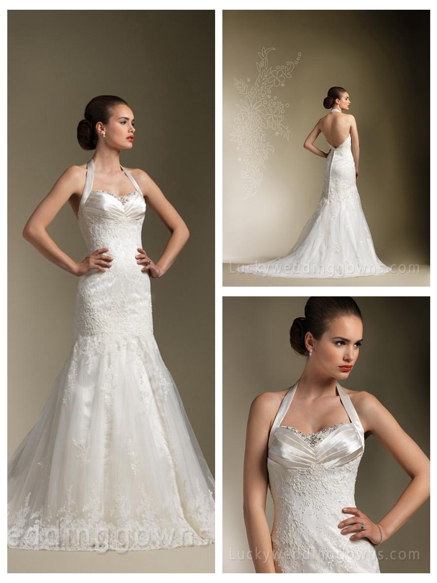 Satin pleated halter neck vogue beaded mermaid wedding for Satin low back wedding dress