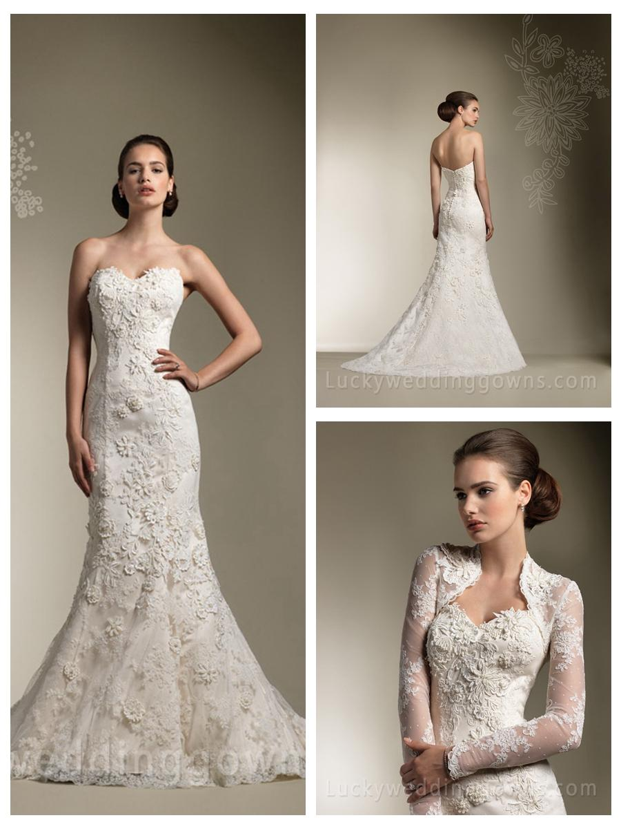 Trumpet Mermaid All Over Lace Sweetheart Wedding Dress With Long Sleeve Jacket Gorgeous 2461842