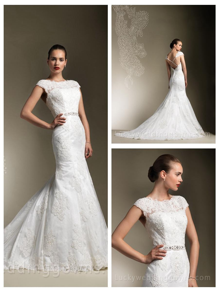 Criss cross back beaded lace trumpet designer wedding for Cross back wedding dress