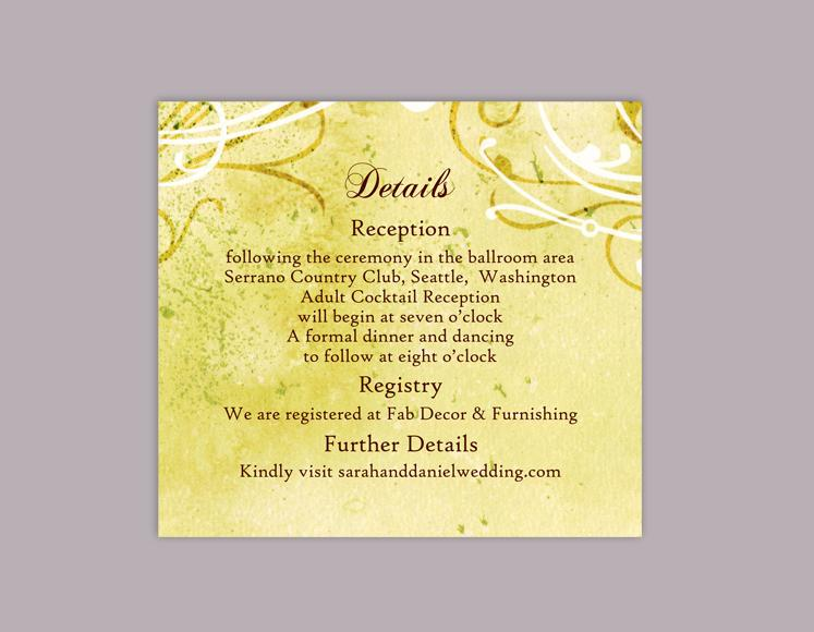 diy rustic wedding details card template editable word